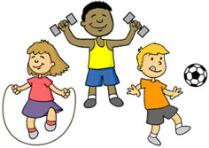 3 students playing soccer, jumping rope and lifting weights