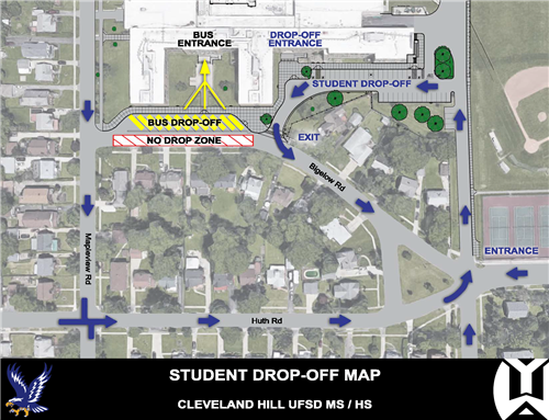 Cleveland Hill Middle and High Schools change in student drop-off pattern